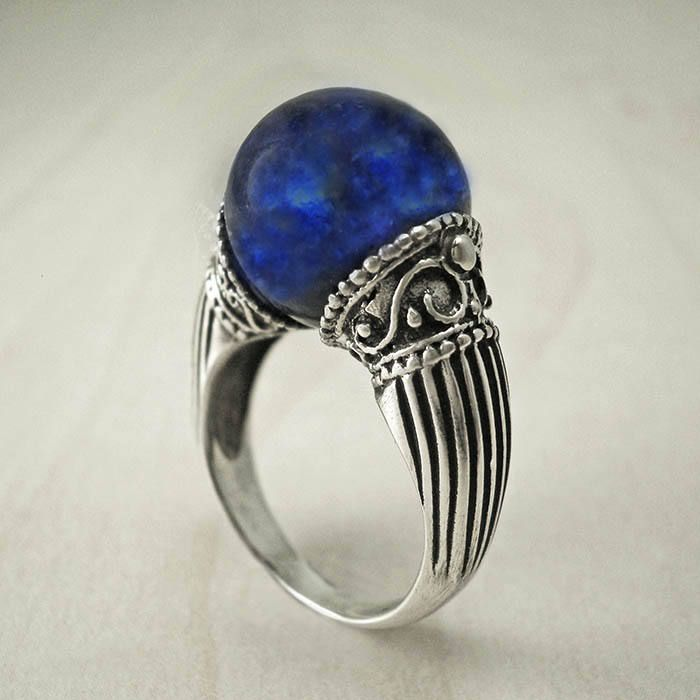 Excited to share the latest addition to my #etsy shop: Lapis Lazuli ring,silver bead ring,Unique ring,Vintage ring,sphere ring,Greek ring,Magic ring,lapis silver ring,antique ring,lapis bead ring http://etsy.me/2izjbUB #jewelry #ring #silver #no #yes #women #blue #lapislazuli