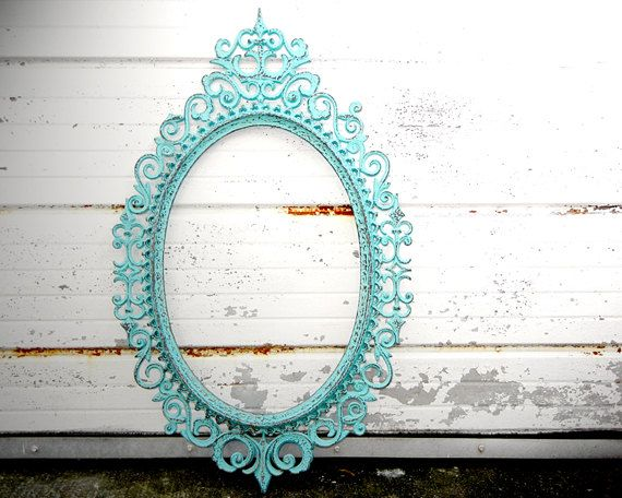 Large Ornate Oval Picture Frame - Shabby Chic Turquoise Blue Green Distressed - Gallery Mantle Wall Wedding Decor Romantic Cottage. the dusty nook, via Etsy.