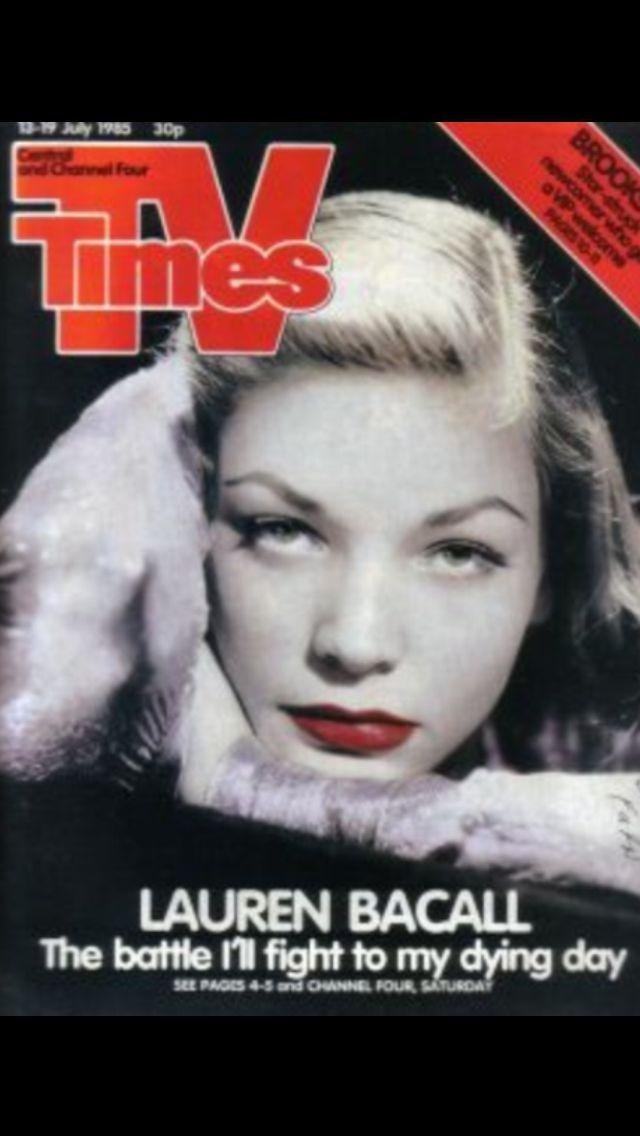 Lauren Bacall covers Tv times magazine( UK) 13 July 1985