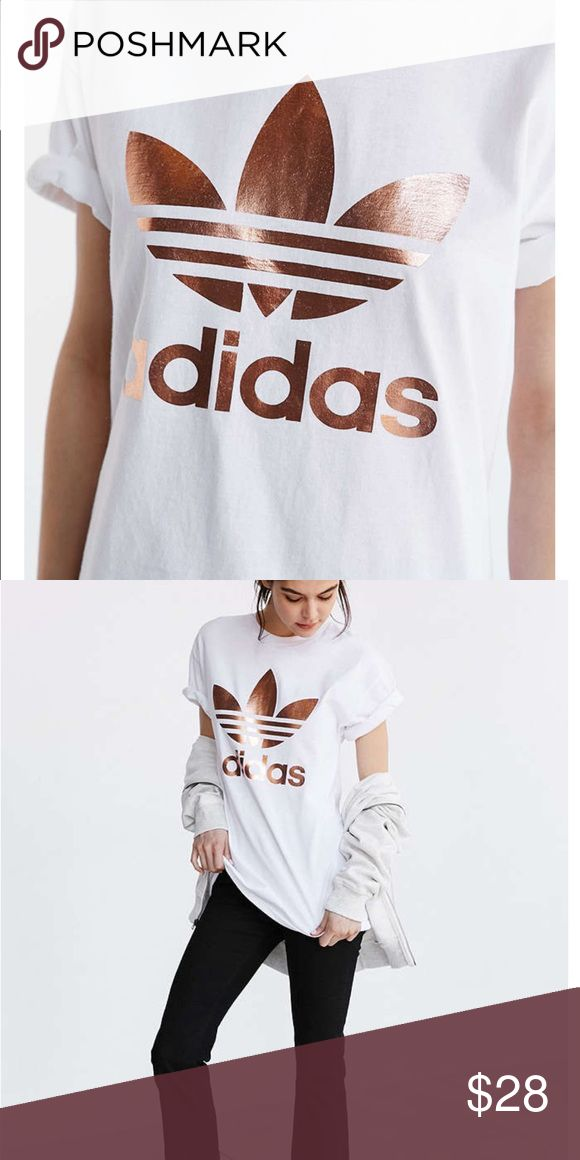 Urban Outfitters Rose Gold Adidas Shirt Urban Outfitters Rose Gold Adidas Shirt. Wore once Adidas Tops Tees - Short Sleeve