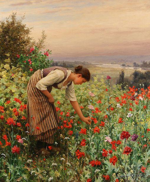 Galería de Daniel Ridgway Knight. Contentment is working in the flower garden.