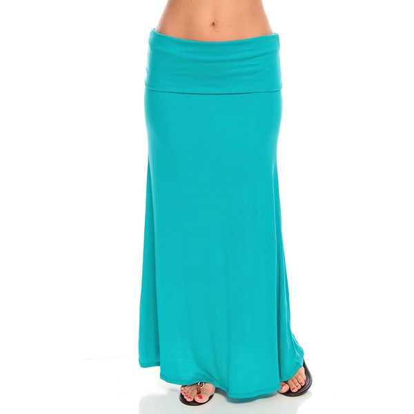 teal fold down waist long maxi skirt ($9.99) ❤ liked on Polyvore featuring skirts, teal, long rayon skirt, long foldover skirt, teal maxi skirt, blue maxi skirt and maxi skirt