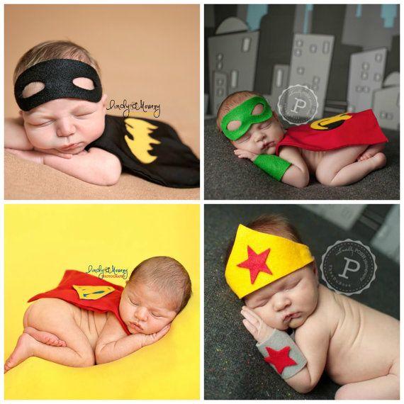 Super Hero Costumes for Newborn Boy & Girl - Bundle Package - Newborn Photography Props - Batman, Robin, Superman and Wonder Women Halloween...