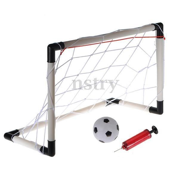 Mini Football Soccer Goal Post Net Set Pump Indoor Outdooor Kids Childs Toy   | eBay