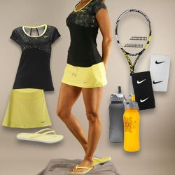 Or how about the Electric Yellow? The Nike Straight Knit tennis skirt, Nike Printed Knit top, with the Babolat AeroPro Drive tennis racquet, and Nike wristbands! #MidwestSports
