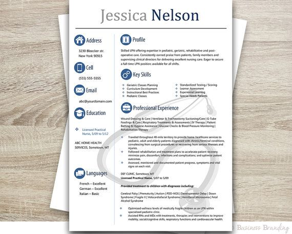 Medical Resume TemplateInstant Download By BusinessBranding  Medical Resume