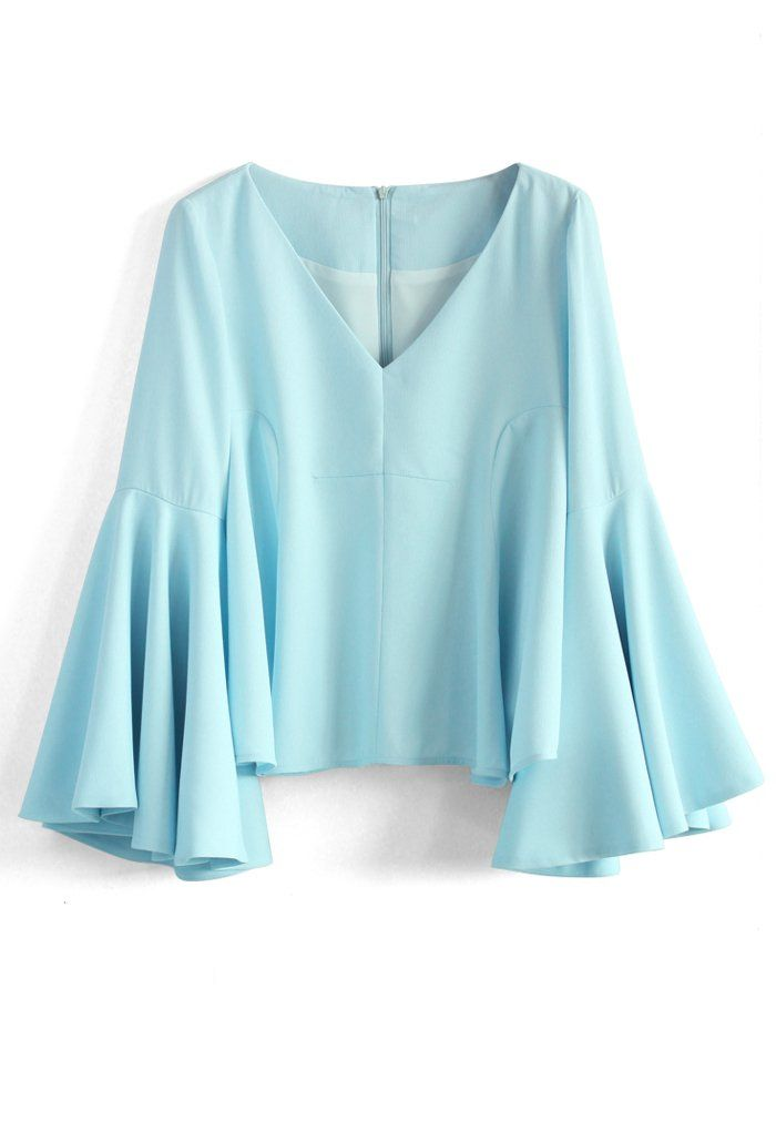 Serene Blue Top with Bell Sleeves - Tops - Retro, Indie and Unique Fashion