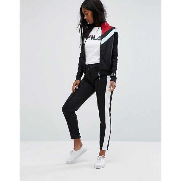 Fila Smart Pannelled Tracksuit Bottoms With Side Contrasts Co-Ord ($65) ❤ liked on Polyvore featuring activewear, activewear pants, black, tall activewear, fila sportswear, sweat pants, fila sweatpants and fila activewear