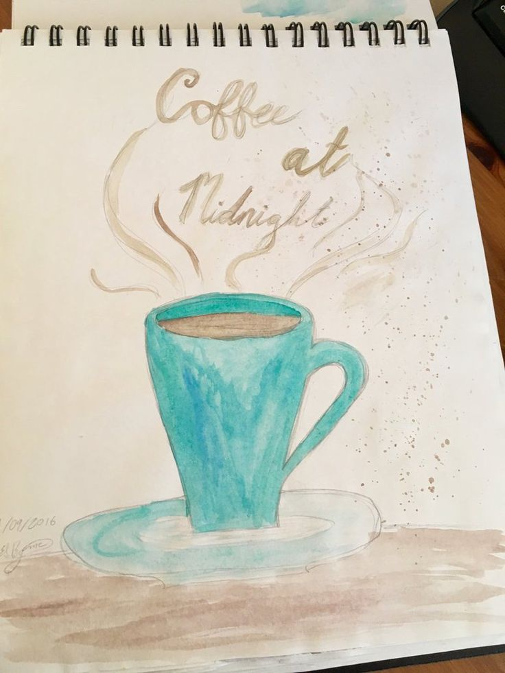 Coffee At Midnight by Erin Sheena Byrne. Watercolour.