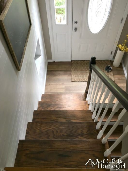 Raised Ranch Entry with Faux shiplap wall