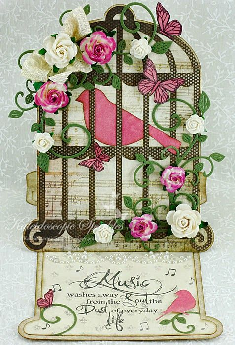 My Craft Spot: DT Post by Karen - Gorgeous Birdcage Easel Card!