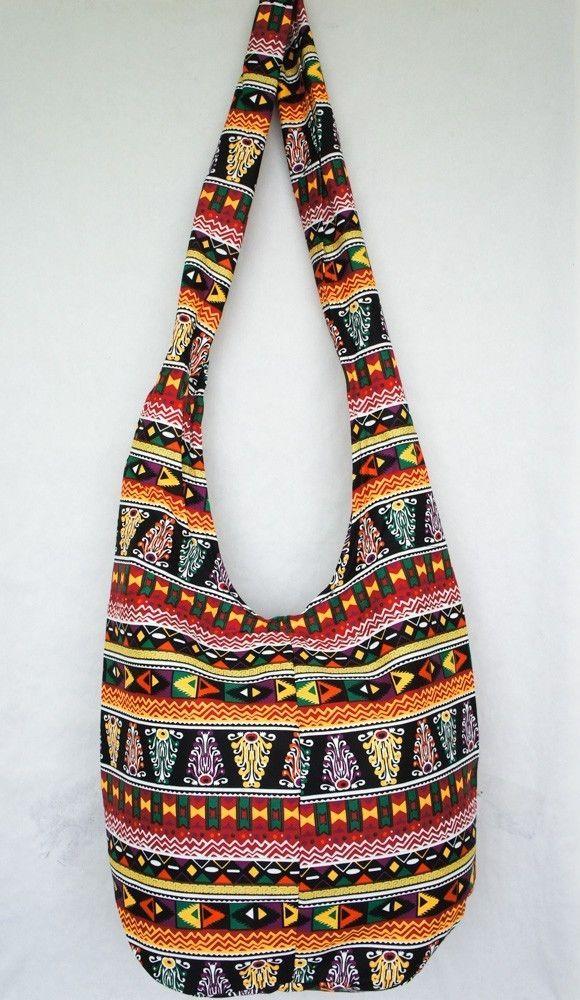 AZTEC TRIBE GRAPHIC PRINT HOBO BAG hippie sling purse shoulder crossbody red #Handmade #MessengerCrossBody