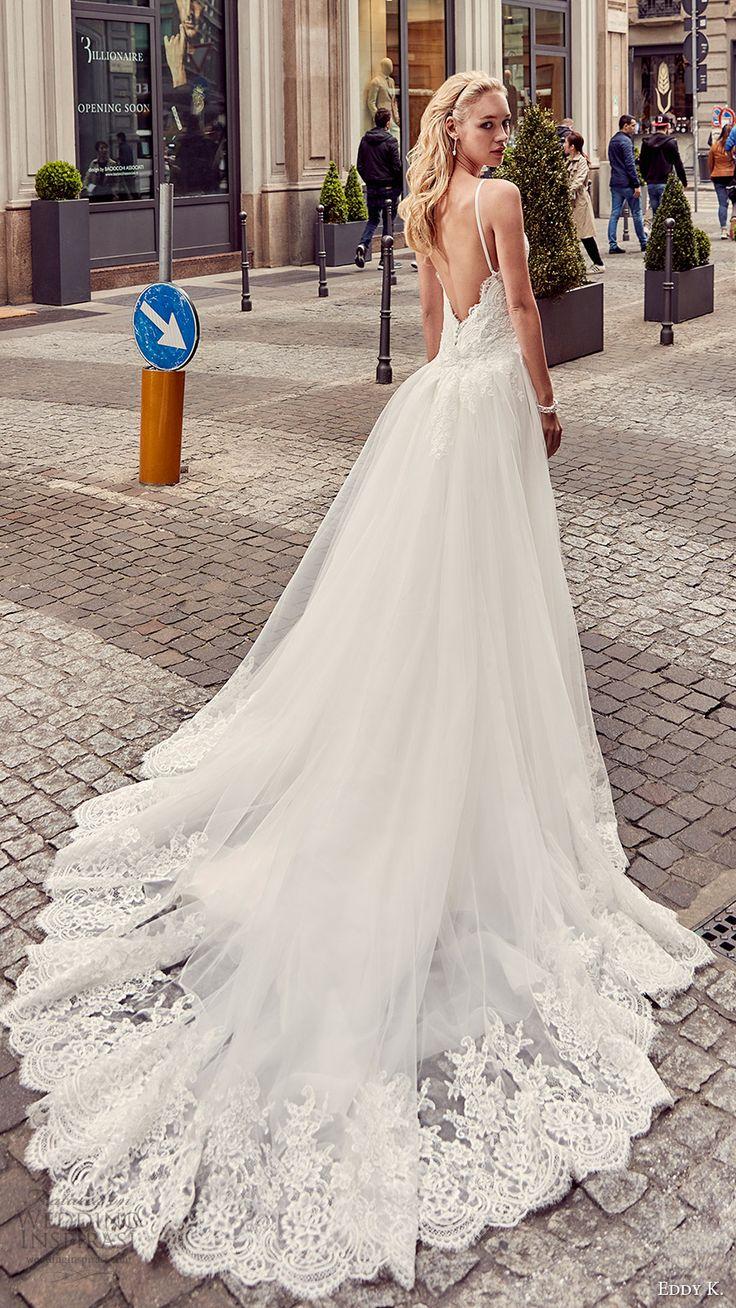 eddy k milano bridal 2017 sleeveless spaghetti straps lace bodice sheath wedding dress (md201) bv overskirt train