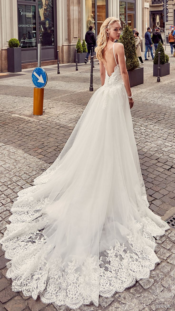 eddy k milano bridal 2017 sleeveless spaghetti straps lace bodice sheath wedding dress (md201) bv overskirt train
