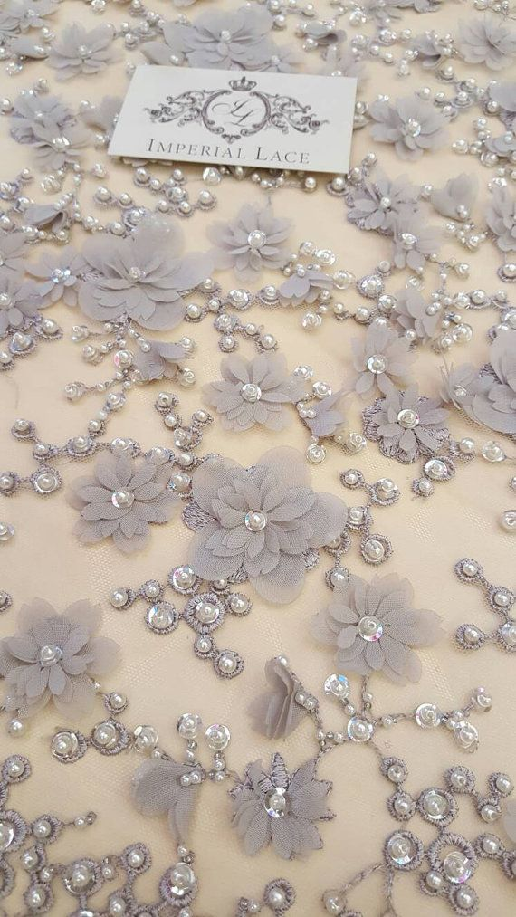 Grey 3D lace fabric Luxury hand made pearl  beads by ImperialLace
