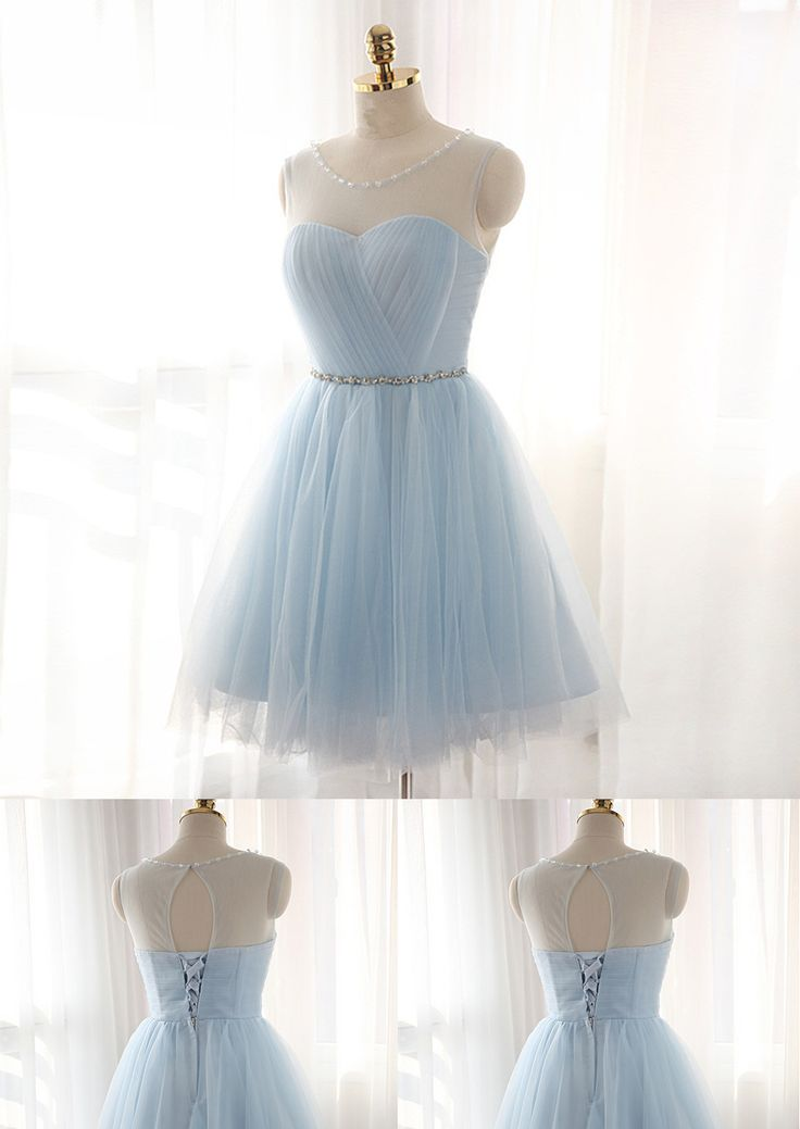 Light Sky Blue Homecoming Dress,Short Prom Dresses,Homecoming Gowns,Fitted Party Dress,Silver Beading Prom Dresses,Sparkly Cocktail Dress