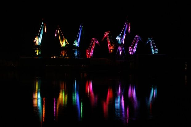 In Croatia, Old Shipyard Cranes Become Glowing Sculptures