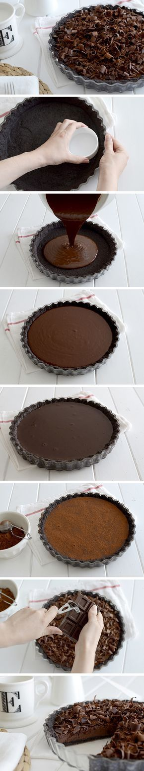 Chocolate tart - Tarta fina de chocolate Más