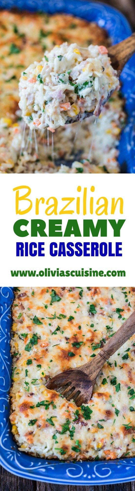 Brazilian Creamy Rice Casserole | www.oliviascuisine.com | This Brazilian Creamy Rice Casserole is not only delicious but VERY easy and quick to prepare. It is ready in 20 minutes and is a great way to use up the leftovers in your fridge! (In partnership with @successrice. ) #Back2SchoolSuccess #ad