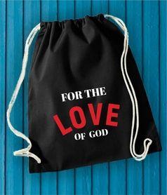 FOR THE LOVE OF GOD - BLACK czarny worek plecak backpack na miłość boską. Zapakujesz wszystko idealny na codzień. #lovegod #loveofgod #fortheloveofgod