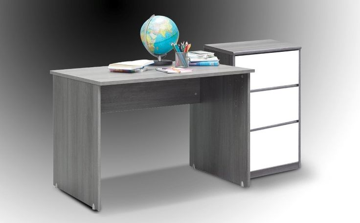 Softplus Study (Silver oak & Glossy white) - This combination of a study with chest of drawers is highly functional. The silver oak desk has a great depth to have a laptop and files open out at once . The chest of drawers gives way for storage and the glossy white fronts make the unit look modern and trendy. A combination of functionality and great design.