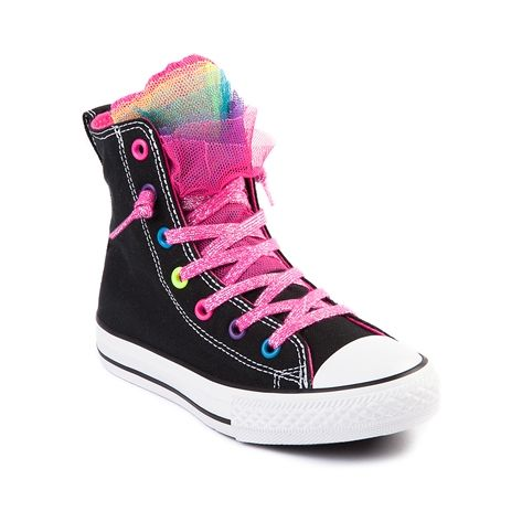 Shop for Youth Converse All Star Party Hi  in Black at Journeys Kidz. Shop today for the hottest brands in mens shoes and womens shoes at JourneysKidz.com.Its a color party! Converse All Star Party Lo featuring a canvas upper with multicolored mesh tongue poof, rainbow eyelets, pink glitter lace closure and rubber outsole. Available exclusively at Journeys Kidz!