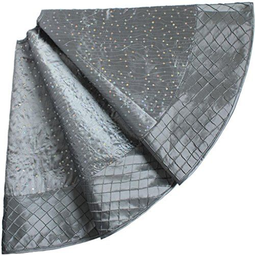 sorrento sequin embroideredpintuck border extra large dia 50 christmas tree skirt silver - Silver Christmas Tree Skirt
