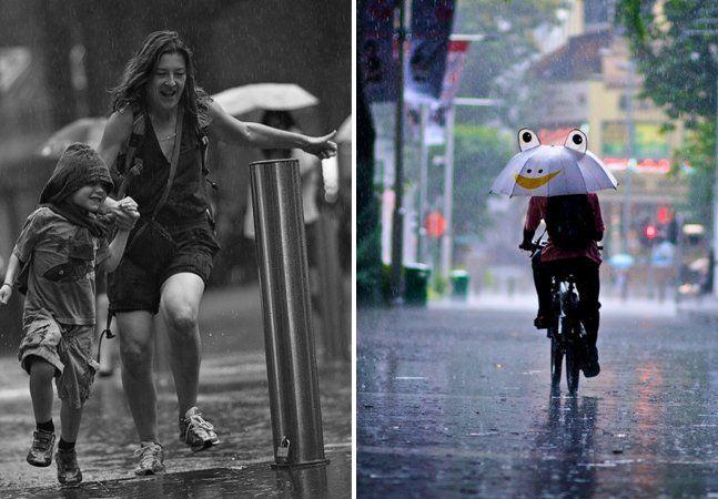 """Fotógrafo """"de fim-de-semana"""",Danny Santosresolveu registrar as pessoas em dias chuvosos e mostrar que mesmo um dia ruim chuvoso pode ser bonito e interessante, basta mudar o foco do olhar. Ele teve a ideia do ensaio depois que postou em um fórum que ficava muito chateado de não conseguir praticar seu hobby de fotografar nos fim-de-semana em que chovia - tinha o mau tempo, o medo de molhar a câmera e por aí vai. Até que um otimista comentou abaixo do seu lamento assim: """"E por que não…"""