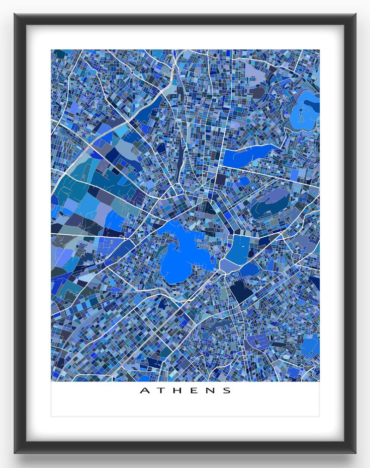Athens map print featuring the city of Athens, Greece.  This Athens city map has a modern design made from lots of little blue shapes. Each shape is actually a city block or a piece of land - and these shapes combine like a puzzle or mosaic to form this Athens art print. #athens #greece #map