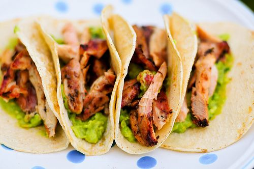 Beer-Marinated Chicken Tacos...I'd substitute Chicken Breast...Sound simple and delic