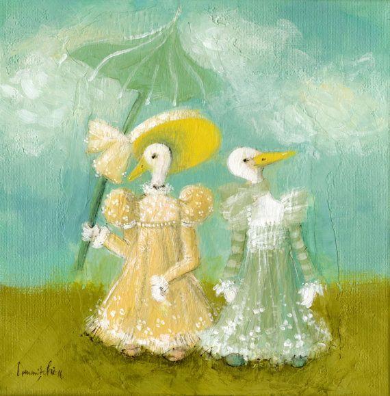 Ducks Nursery Art Original Acrylic Painting Whimsical