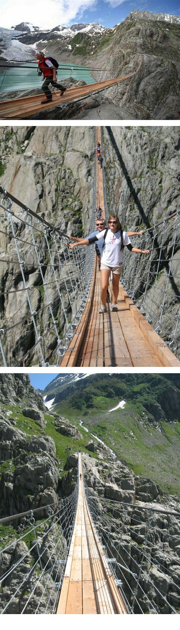 Trift Bridge is one of the most spectacular pedestrian suspension bridges of the Alps. It is 100 meters high and 170 meters long, and is poised above the region of the Trift Glacier.