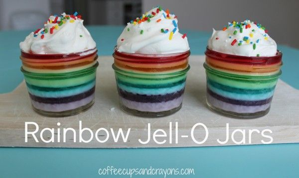 Rainbow Jell-O Jars - How totally cute are these!!!!