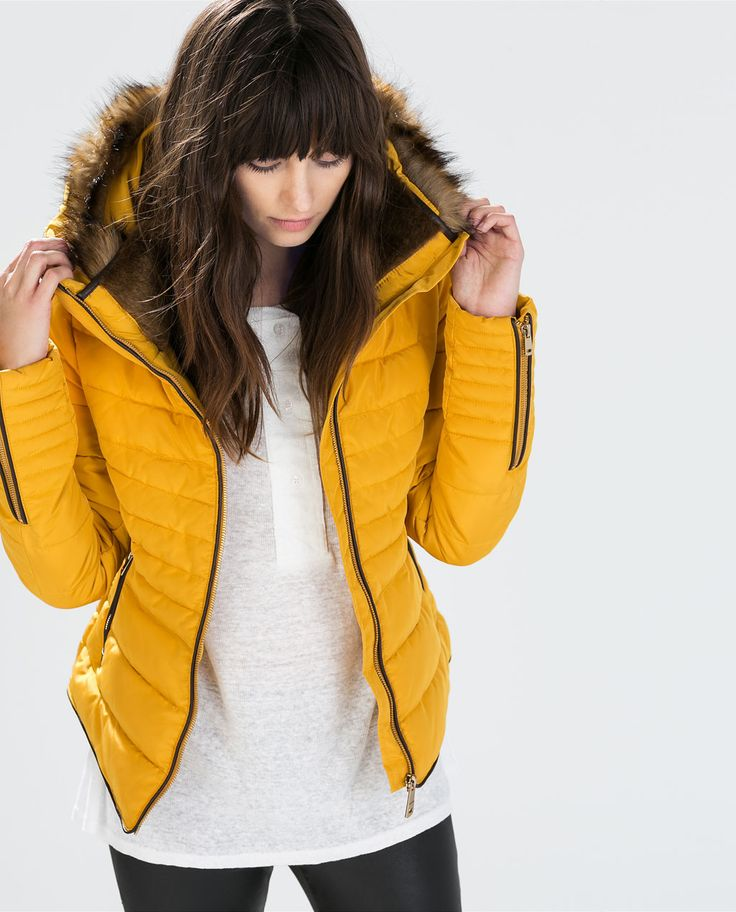 Zara Mustard Yellow Quilted Padded Winter Jacket Fur