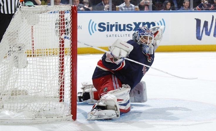 Henrik Lundqvist turns a shot away against the New Jersey Devils. (Scott Levy/MSG Photos) Blueshirts United - Rangers-Devils: The Collection