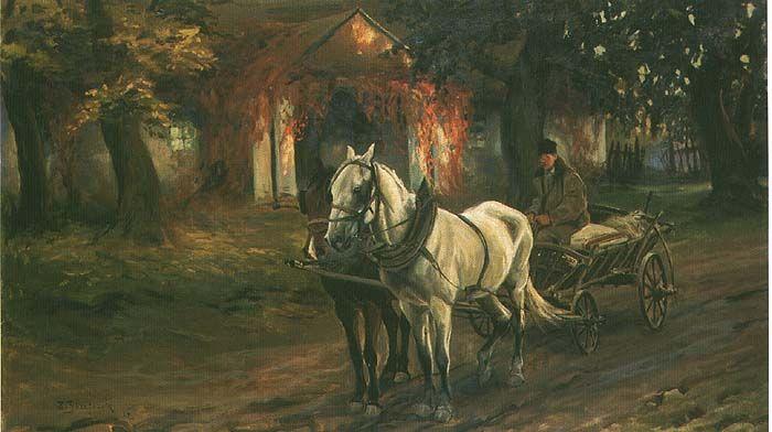 Józefczyk Zygmunt . Zaprzęg przed dworkiem olej, płótno, 66 x 111