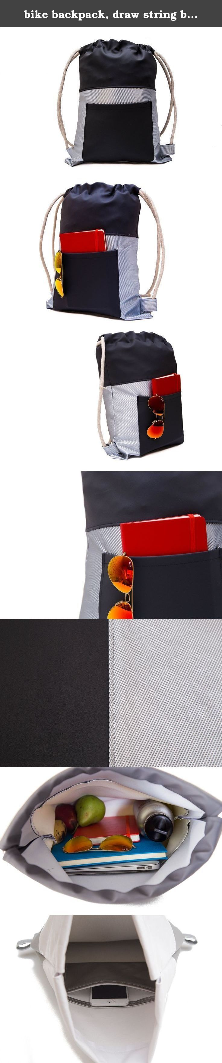 """bike backpack, draw string backpack, drawstring bags, women lunch bag, gym bag, HIPSTER, Animal friendly bag. The bag is crafted from top Italian fabrics and features thick & soft cotton rope as the drawstring closure. The bag is big enough so it can contain up to 15"""" laptop on top on other things, so it is great for either school, gym, daily life, or even late night events. Dimensions: Width: 35 cm / 13.5 Inch Height: 46 cm / 18 Inch Each bag has an external pocket for a small notebook..."""