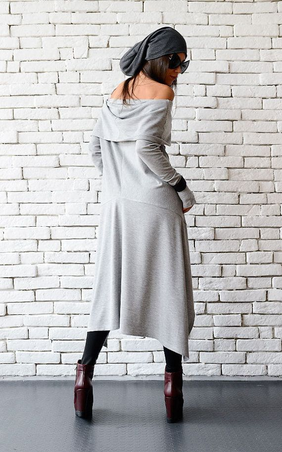 Feminine grey tunic dress - METT0056  A new gentle creation that is a wonderful gift for any lady. Soft grey color, fallen shoulder style and asymmetry - a dream comes true. Not only that this is a very beautiful tunic, but it is also a super comfortable piece to wear and it gives you the opportunity to wear it alone as a short dress or with some leggings as a tunic - just use your imagination!  This tunic is made of 100% cotton.  Find the pants here: https://www.etsy.com/listi...