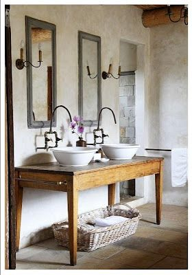 Karoo bathroom -- South Africa. Like the stand alone sinks and the long taps