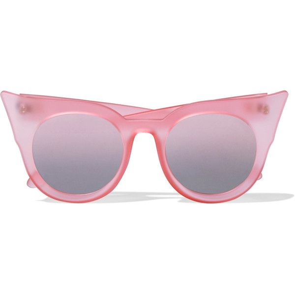 Le Specs Flashy cat-eye matte-acetate mirrored sunglasses ($29) ❤ liked on Polyvore featuring accessories, eyewear, sunglasses, pastel pink, mirror lens sunglasses, mirrored lens sunglasses, pink glasses, le specs sunglasses and uv protection sunglasses