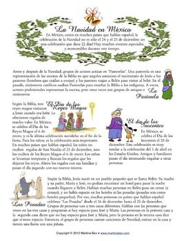 Traditional Mexican Christmas traditions - free reading worksheet