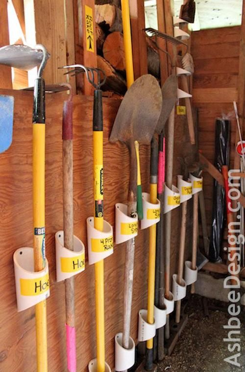 One of the most common uses for PVC pipes is in the garage or garden shed. A few quick slices and a few drill holes will get you the perfect system for organizing your outdoor tools.