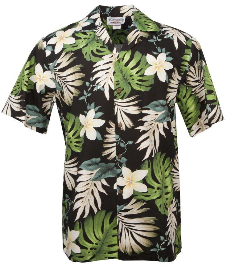 Plumeria Passion Mens Hawaiian Aloha Shirt in Black, Mens Hawaiian Shirts Clothing, 410-3688-Black - Paradise Clothing Company