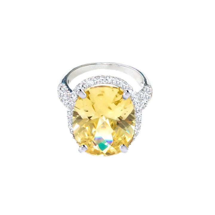 Canary Yellow Ring Surrounded with AAA Cubic Zirconia Stones. Moresojewel.com