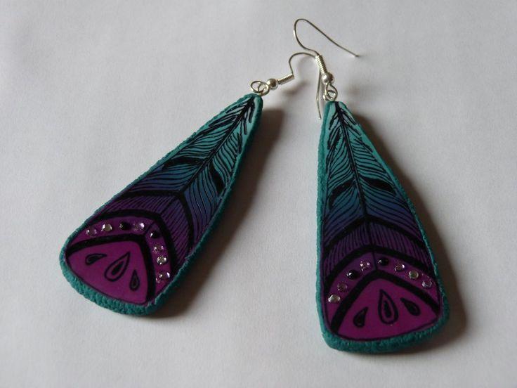 Boucles d'oreilles plumes en Fimo - Cultura