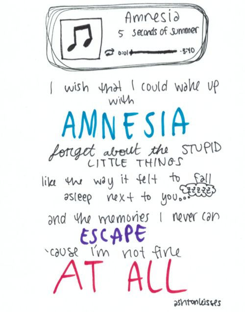5SOS ~ Amnesia lyrics >>> I need a studio version and now, because this song literally makes me cry
