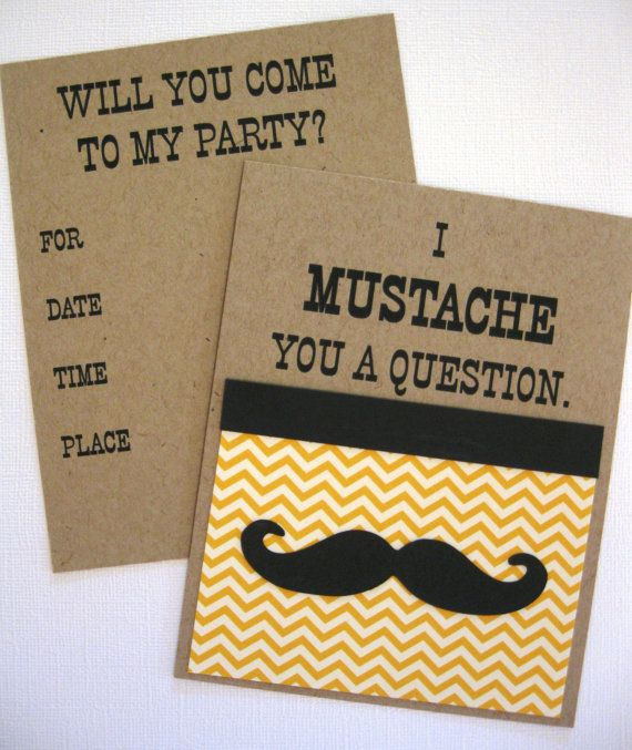 Mustache Party Invitations by cmariedesigns on Etsy, $2.50