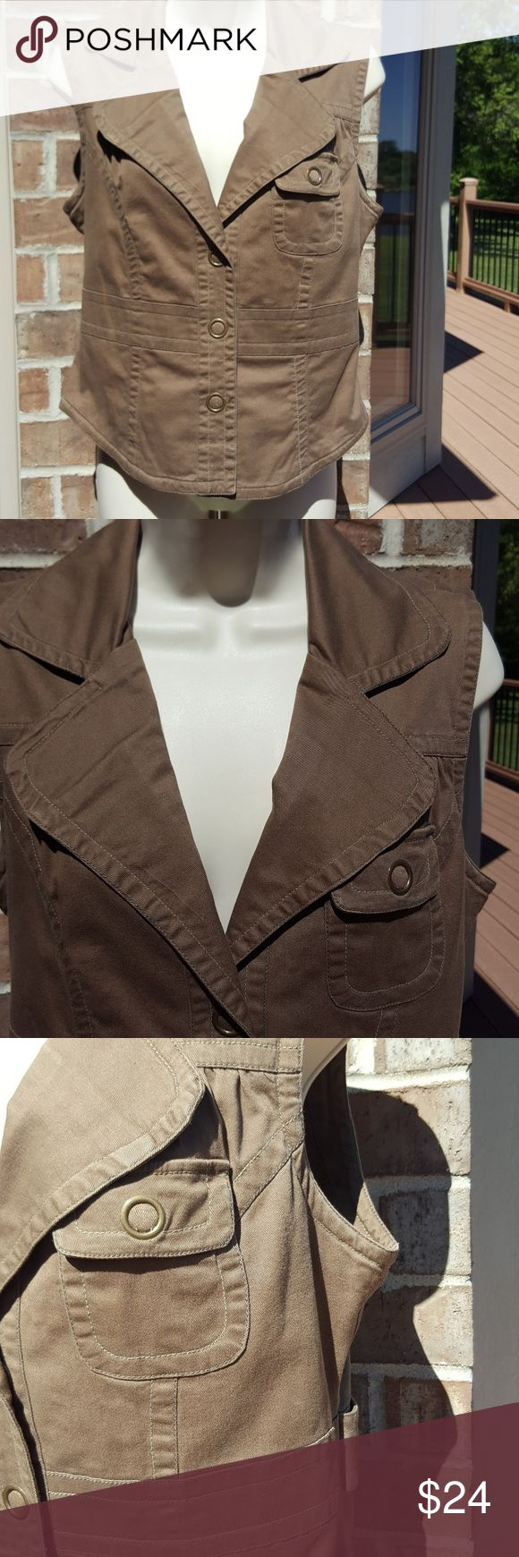 """Tulle brand khaki vest Tulle brand khaki/ brown vest, size XL, 100% cotton, stunning details front and back,  18 3/4"""" bust closed laying flat,  21"""" length,  lining is a cute pattern 100% cotton  See picture #5, closures are snaps,  EUC,  smoke free home Tulle Jackets & Coats Vests"""