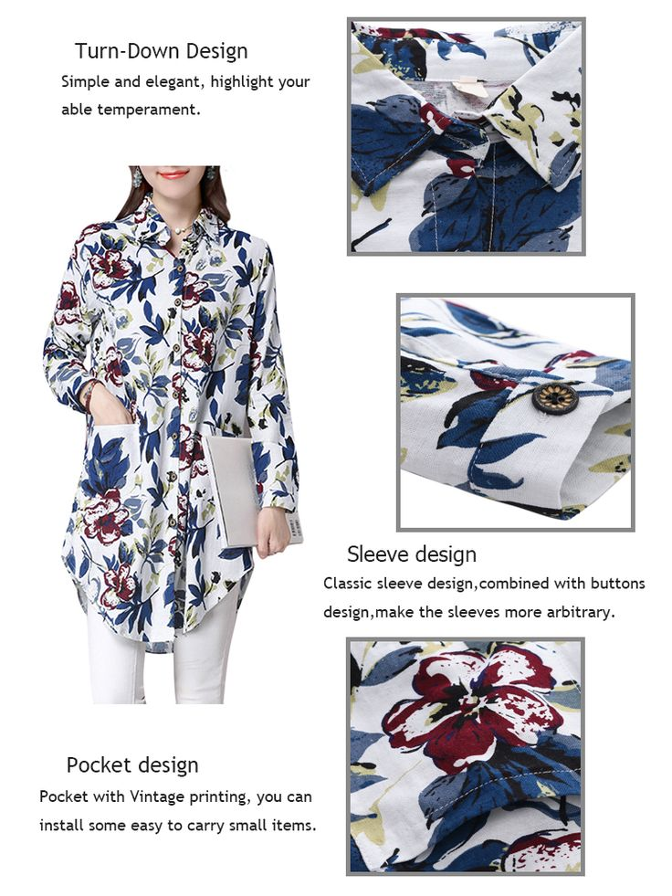 Vintage Women Printing Long Sleeve Loose Cotton Blouse