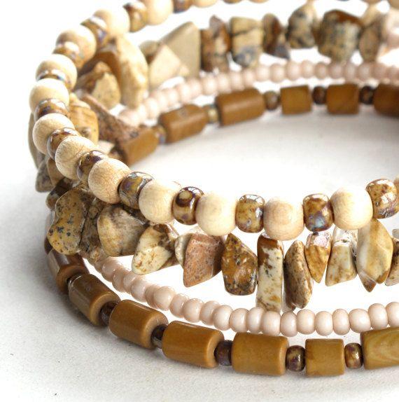 Beaded bracelet stack stacking tan beige & cream by dalystudios